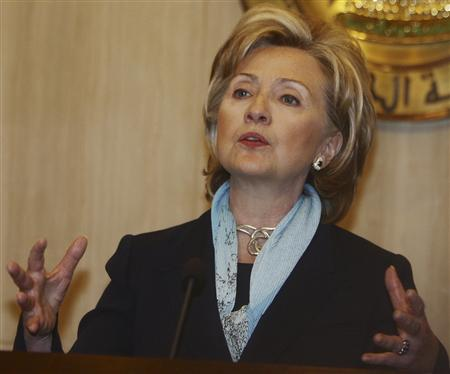 Secretary of State Hillary Clinton speaks during a news conference after her meeting with Egypt's President Hosni Mubarak at the Presidential palace in Cairo November 4, 2009. REUTERS/Tarek Mostafa