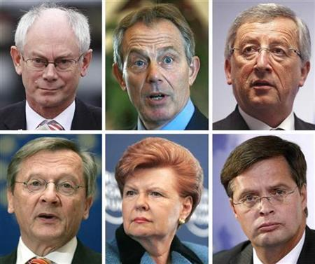 Combination photo shows undated portraits of politicians often named by European media as potential candidates to become European Union President. REUTERS/Reuters Photographers