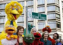 <p>Sesame Street creator Joan Ganz Cooney (2nd R) poses with some of the cast during a 40th anniversary street naming celebration in New York, November 9, 2009. REUTERS/Shannon Stapleton</p>