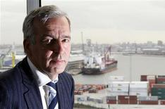 <p>Logistics and maritime services company Ahlers' Chief Executive Officer Christian Leysen poses in his office near the port of Antwerp, October 16, 2009. REUTERS/Francois Lenoir</p>