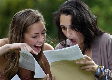 Lizzie Antrobus (L) and Maral Rouhani react after receiving their A-level exam results in Manchester, northern England, August 14, 2008. REUTERS/Darren Staples