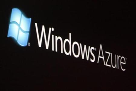 The launch of Windows Azure, with its logo shown on a screen, is announced by Chief Software Architect at Microsoft Ray Ozzie at the 2008 Microsoft Professional Developers Conference in Los Angeles October 27, 2008. REUTERS/Fred Prouser
