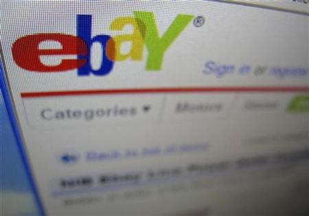 A photograph of a computer screen showing the website eBay is shown here in Encinitas, California in this April 22, 2009 file photo. REUTERS/Mike Blake