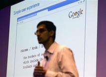 <p>Sundar Pichai, vice-president de produto do Google apresenta navagador Chrome na sede da empresa, em setembro de 2008. Na semana passada, o executivo afirmou que o sistema operacional da companhia poderá iniciar um computador em até sete segundos.</p>