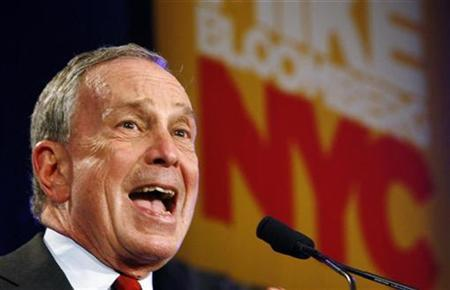 New York City Mayor Michael Bloomberg speaks to supporters after his election win in New York, November 3, 2009. REUTERS/Shaun Best
