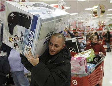 Jose Figueroa makes his way through a Target store in Chicago, November 27, 2009. REUTERS/John Gress