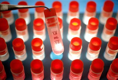 Ampoules containing a medium for stem cell storage in a file photo. REUTERS/Peter Macdiarmid