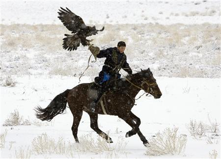 A participant rides with his eagle during an annual hunting competition in Chengelsy Gorge, some 150 km (93 miles) east of Almaty, December 5, 2009. REUTERS/Shamil Zhumatov