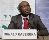 <p>African Development Bank president Donald Kaberuka during a news conference in Washington, April 26, 2009. REUTERS/Yuri Gripas</p>