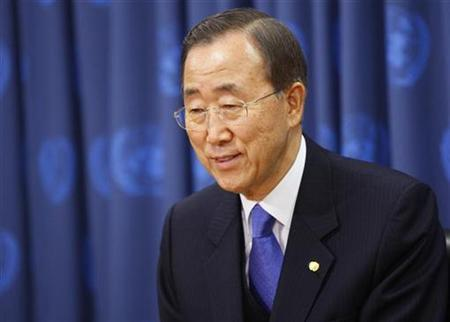 U.N. Secretary General Ban Ki-moon speaks about singer Stevie Wonder (not pictured) during a news conference after he was appointed as a United Nations Messenger of Peace, at UN Headquarters, in New York, December 3, 2009. REUTERS/Chip East