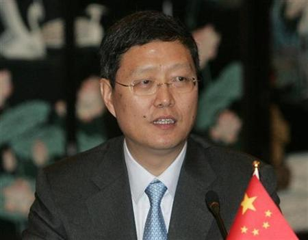 Chinese Assistant Foreign Minister He Yafei delivers opening remarks during the start of the world powers meeting on Iran in Shanghai April 16, 2008. REUTERS/Aly Song