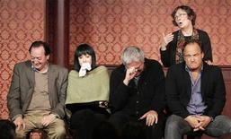 <p>Joe Flaherty (L), Eugenie Ross-Leming (2nd L), Harold Ramis, Jim Belushi (2nd R) and Judy Morgan (standing) perform a skit as part of celebrations marking the 50th anniversary of Chicago-based comedy theater troupe, Second City, in Chicago in this December 12, 2009 file photo. REUTERS/Frank Polich</p>