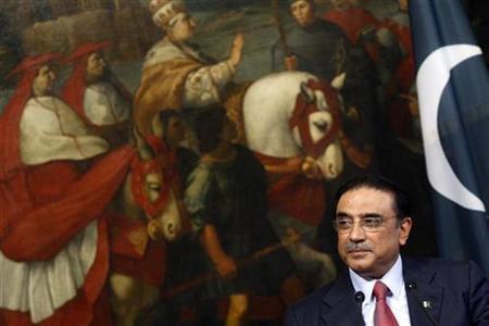 Pakistani President Asif Ali Zardari looks on during his meeting with Italian Prime Minister Silvio Berlusconi at Chigi palace in Rome September 30, 2009. REUTERS/Remo Casilli