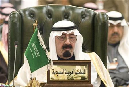 Saudi Arabia's King Abdullah listens to closing remarks during the closing ceremony of the Gulf Cooperation Council (GCC) summit in Bayan Palace December 15, 2009. REUTERS/Stephanie McGehee