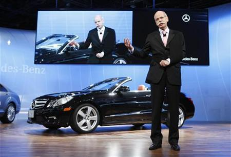 Daimler AG Chief Executive Dieter Zetsche speaks after revealing the Mercedes-Benz E-Class Cabriolet at the 2010 North American International Auto Show during press days in Detroit, Michigan, January 11, 2010. REUTERS/Mark Blinch
