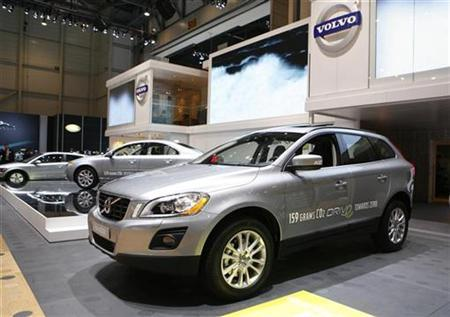The XC60 Volvo model is displayed during the first media day of the 79th Geneva Car Show at the Palexpo in Geneva March 3, 2009. REUTERS/Denis Balibouse