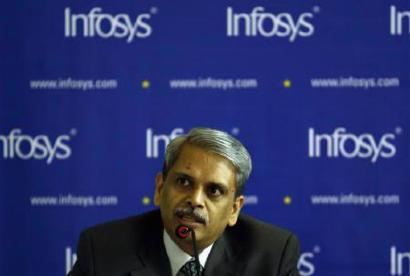 Infosys Technologies Chief Executive Officer S. Gopalakrishnan speaks during a news conference in Mumbai in this August 2007 file photo. REUTERS/Punit Paranjpe