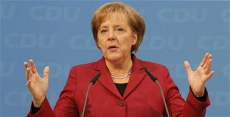 German Chancellor and head of the Christian Democratic Union (CDU) Angela Merkel speaks during a news conference after a meeting of party leaders on the strategy for this year in Berlin January 15, 2010. REUTERS/Thomas Peter