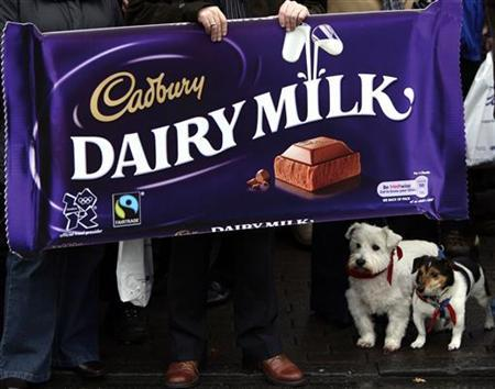 Workers protest after attending a union campaign launch at the Cadbury factory in Bournville, central England in this December 15, 2009 file photo. REUTERS/Darren Staples