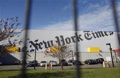 <p>Типография New York Times в Нью-Йорке 17 ноября 2009 года. Американская газета New York Times начнет брать деньги за доступ к материалам на своем сайте, начиная со следующего года, для борьбы с падением оборота печатной продукции и снижением объема рекламы, негативно отражающимися на выручке. REUTERS/Shannon Stapleton</p>