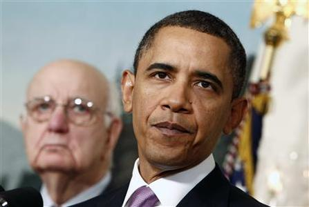 President Obama speaks about financial reform after his meeting with Presidential Economic Recovery Advisory Board Chair Paul Volcker at the White House, January 21, 2010. REUTERS/Kevin Lamarque