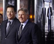 "<p>Cast members Brendan Fraser (L) and Harrison Ford pose together at the premiere of CBS film's ""Extraordinary Measures"" at Grauman's Chinese Theatre in Hollywood, California, January 19, 2010. REUTERS/Danny Moloshok</p>"