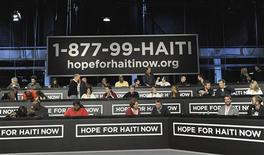 "<p>Celebrities work on the phone bank during the ""Hope for Haiti Now: A Global Benefit for Earthquake Relief"" telethon in New York January 22, 2010. REUTERS/Marc Davis/MTV Hope for Haiti Now/Handout</p>"
