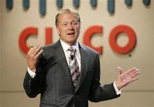 <p>John Chambers, amministratore delegato di Cisco Systems, in una foto d'archivio. REUTERS/Steve Marcus</p>