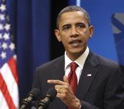 <p>Президент США Барак Обама говорит о налоговых ставках для семей среднего класса в Белом доме в Вашингтоне 25 января 2010 года. Президент США Барак Обама предложит Конгрессу сократить госрасходы на $250 миллиардов к 2020 году, что позволит уменьшить гигантский дефицит бюджета США уже в следующем году. REUTERS/Larry Downing</p>
