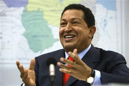 Venezuela's President Hugo Chavez during a news conference at Miraflores Palace in Caracas January 26, 2010. REUTERS/Miraflores Palace/Handout