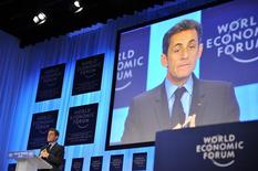 <p>France's President Nicolas Sarkozy delivers a speech during the World Economic Forum (WEF) in Davos January 27, 2010. REUTERS/Philippe Wojazer</p>