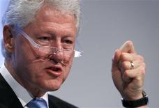 <p>Former President and UN Special Envoy to Haiti Bill Clinton addresses delegates at the World Economic Forum (WEF) in Davos January 28, 2010. REUTERS/Arnd Wiegmann</p>