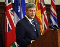 <p>Canada's Prime Minister Stephen Harper delivers a speech during a Conservative caucus meeting on Parliament Hill in Ottawa January 22, 2010. REUTERS/Chris Wattie CANADA</p>