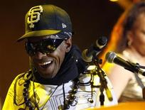 <p>Funk music pioneer Sly Stone performs during a concert with Sly & The Family Stone at the 41st Montreux Jazz Festival early July 14, 2007. REUTERS/Denis Balibouse</p>