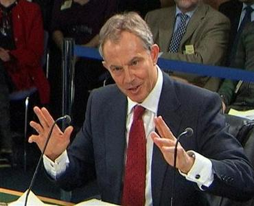 A video grab image shows Britain's former Prime Minister, Tony Blair, addressing the Iraq Inquiry, in central London, January 29, 2010. REUTERS/UKBP Via Reuters TV