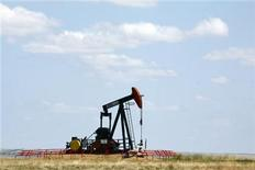 <p>A Canadian Natural Resources pump jack pumps oil out of the ground near Dorothy, Alberta, June 30, 2009. REUTERS/Todd Korol</p>