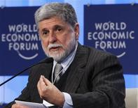 <p>Brazil's Foreign Minister Celso Amorim attends a session at the World Economic Forum (WEF) in Davos January 28, 2010. REUTERS/Arnd Wiegmann</p>