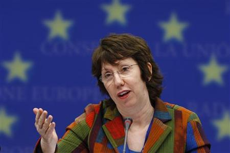 European Union High Representative for Foreign Affairs Catherine Ashton holds a news conference after a meeting with EU development ministers at the EU Council in Brussels, January 18, 2010. REUTERS/Francois Lenoir