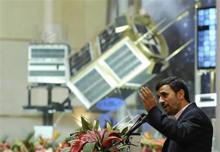Iranian President Mahmoud Ahmadinejad speaks during a ceremony to introduce the domestically produced Simorq propulsion system, for rockets to carry satellites into space, during a ceremony in Tehran, February 3, 2010. REUTERS/Ebrahim Noroozi/IIPA.ir