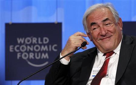 Dominique Strauss-Kahn, Managing Director of the International Monetary Fund (IMF) attends a session at the World Economic Forum (WEF) in Davos, January 30, 2010. REUTERS/Arnd Wiegmann