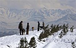 <p>Афганцы выгуливают собак на горе в Кабуле, 8 февраля 2010 года. Афганские спасатели продолжают искать выживших после схода лавины на горном перевале Саланг в горах Гиндукуш. REUTERS/Ahmad Masood</p>