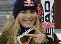 <p>Foto de archivo: la esquiadora estadounidense Lindsey Vonn reacciona luego de ganar una carrera en Haus, ene 10 2010. REUTERS/Leonhard Foeger (AUSTRIA)</p>