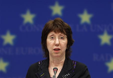 EU High Representative for Foreign Affairs and Security Catherine Ashton holds a news conference after a EU foreign ministers meeting in Brussels February 22, 2010. REUTERS/Yves Herman