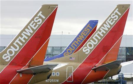 Southwest Airlines planes prepare for departure from Oakland International Airport in Oakland, California in this May 29, 2006, file image. REUTERS/John Gress