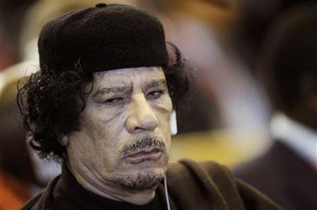 Libya's leader Muammar Gaddafi attends the Food and Agriculture Organisation (FAO) Food Security Summit in Rome November 16, 2009. REUTERS/Filippo Monteforte/Pool