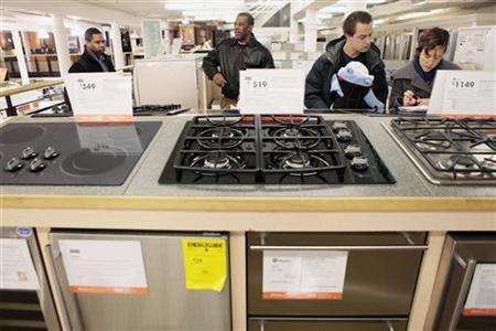 Shoppers look at appliances at a Home Depot store in New York in this December 23, 2009 file photo. REUTERS/Lucas Jackson