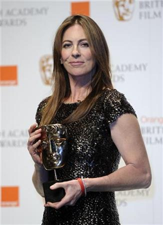 Kathryn Bigelow poses with her award for Best Director for ''The Hurt Locker'' at the British Film and Television Arts (BAFTA) award ceremony at the Royal Opera House in London February 21, 2010. REUTERS/Toby Melville