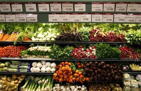 Vegetables are seen at a LaJolla, California supermarket in this May 13, 2008 file photo. REUTERS/Mike Blake