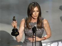 "<p>Kathryn Bigelow, director of ""The Hurt Locker"", speaks after winning best director during the 82nd Academy Awards in Hollywood, March 7, 2010. REUTERS/Gary Hershorn</p>"