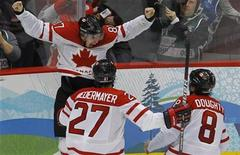 <p>Canada's Sidney Crosby celebrates after scoring the game winning goal against the U.S. during overtime in their men's ice hockey gold medal game at the Vancouver 2010 Winter Olympics February 28, 2010. REUTERS/Todd Korol</p>